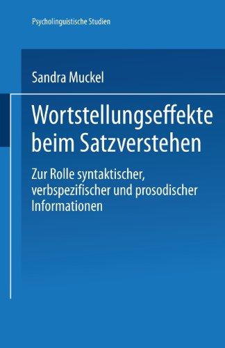 Wortstellungseffekte Beim Satzverstehen   2002 9783824445080 Front Cover