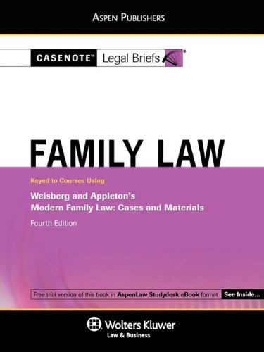 Family Law Weisberg and Appleton 4e 4th (Student Manual, Study Guide, etc.) 9780735590083 Front Cover