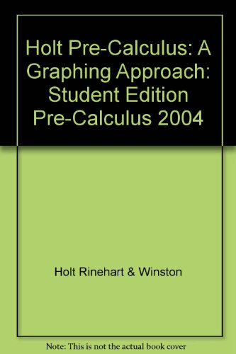 Precalculus A Graphing Approach 4th 9780030696084 Front Cover