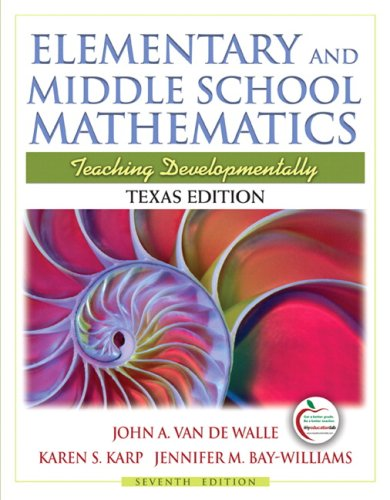 Texas Edition of Elementary and Middle School Mathematics  7th 2010 edition cover