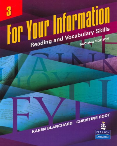 For Your Information 3 Reading and Vocabulary Skills 2nd 2007 edition cover