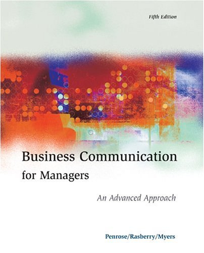 Business Communication for Managers An Advanced Approach 5th 2004 (Revised) edition cover