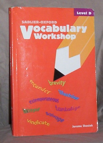 Vocabulary Workshop, Student Text, Level D 1st 2002 (Student Manual, Study Guide, etc.) edition cover