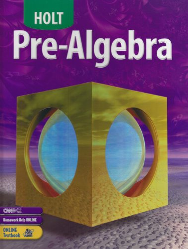 Pre-Algebra  4th (Student Manual, Study Guide, etc.) 9780030696091 Front Cover