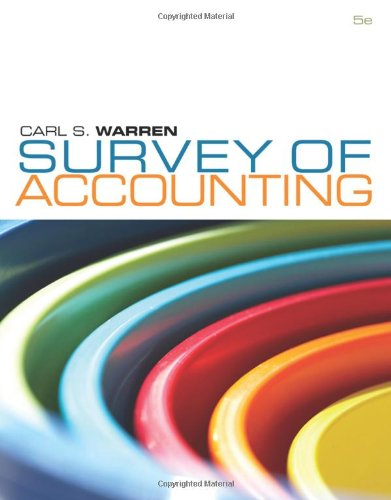 Survey of Accounting  5th 2011 9780538749091 Front Cover
