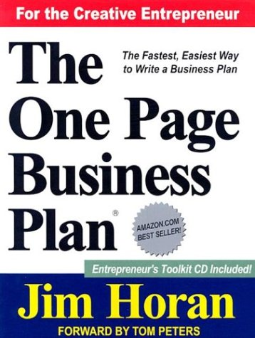 One Page Business Plan  3rd 1998 edition cover