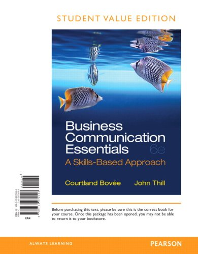Business Communication Essentials, Student Value Edition  6th 2014 9780132972093 Front Cover