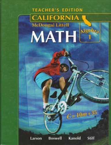 ML Math Algebra 1 California Teacher's Edition:   2008 9780618807093 Front Cover