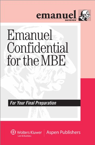 Emanuel Confidential for the MBE  Student Manual, Study Guide, etc.  edition cover