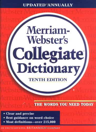 Merriam-Webster's Collegiate Dictionary Thumb-Indexed 10th 2002 edition cover