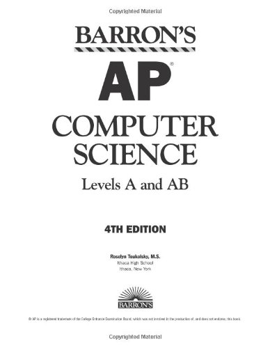 Barron's AP Computer Science Levels A and AB 4th 2007 edition cover