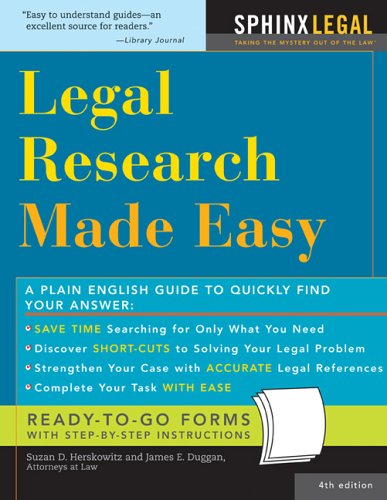 Legal Research Made Easy  4th 2005 9781572485099 Front Cover
