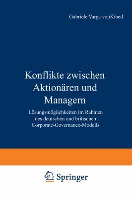 Konflikte Zwischen Aktion�ren und Managern   2001 9783824475100 Front Cover