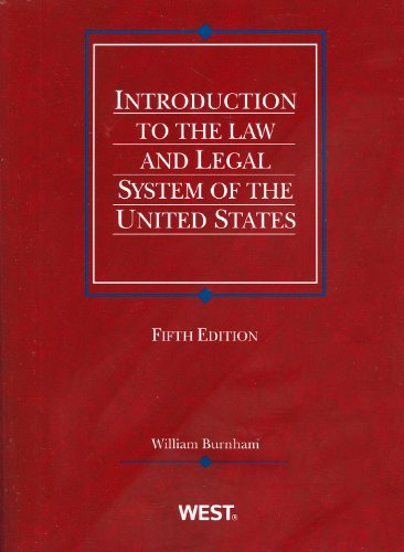 Introduction to the Law and Legal System of the United States  5th 2011 (Revised) edition cover