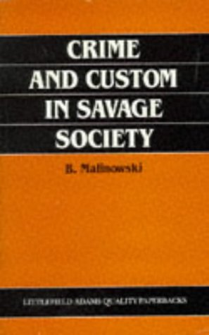 Crime and Custom in Savage Society  Reprint edition cover