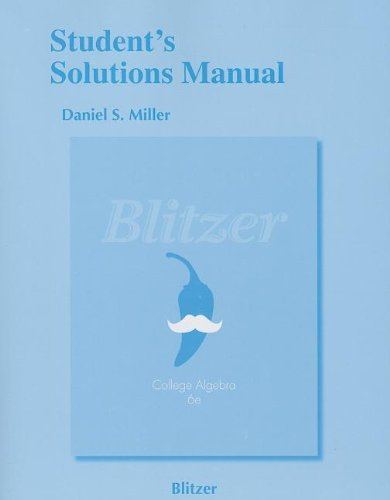 Student's Solutions Manual for College Algebra  6th 2014 edition cover