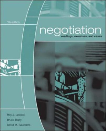Negotiation Readings, Exercises, Cases 5th 2007 (Revised) edition cover