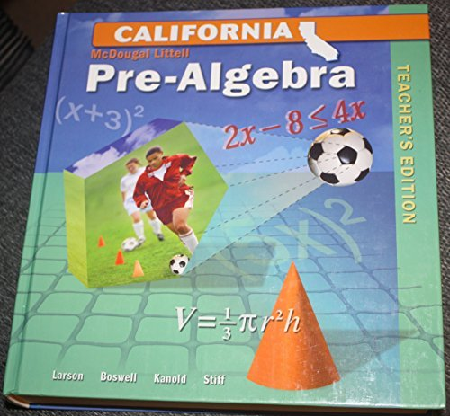 Mcdougal Littell Middle School Math California Pre-algebra: Teacher Edition  2007 9780618807109 Front Cover
