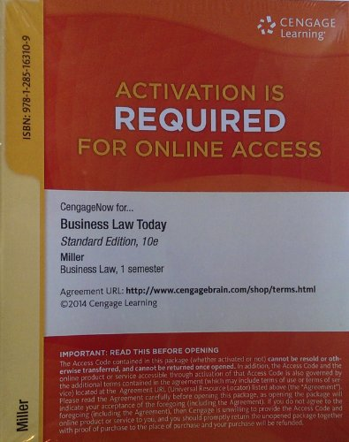BUSINESS LAW TODAY:STANDARD-ACCESS      N/A 9781285163109 Front Cover