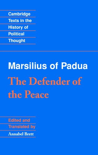 Marsilius of Padua The Defender of the Peace  2005 edition cover