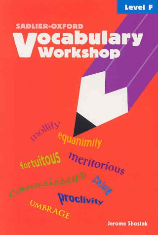 Vocabulary Workshop, Student Text, Level F 1st 2002 (Student Manual, Study Guide, etc.) edition cover