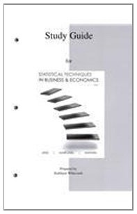 Study Guide for Statistical Techniques in Business and Economics  15th 2012 edition cover