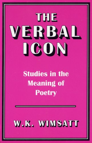 Verbal Icon Studies in the Meaning of Poetry  1982 edition cover