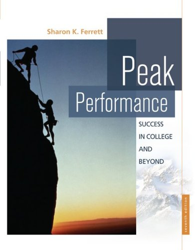 Peak Performance Success in College and Beyond 7th 2010 edition cover