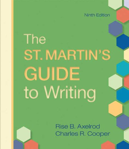 St. Martin's Guide to Writing  9th 2010 edition cover