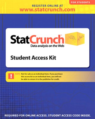 StatCrunch  - Data Analysis on the Web   2009 edition cover