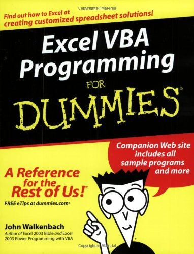 Excel VBA Programming for Dummies   2004 edition cover