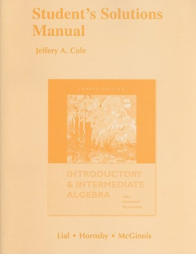 Introductory and Intermediate Algebra  4th 2010 edition cover