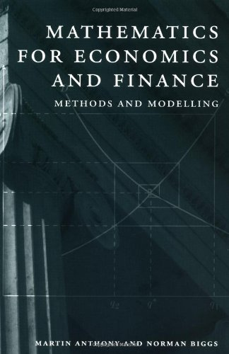 Mathematics for Economics and Finance Methods and Modelling  1996 9780521559133 Front Cover