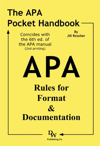 APA Pocket Handbook Rules for Format and Documentation 6th edition cover