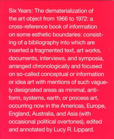 Six Years The Dematerialization of the Art Object from 1966 to 1972  1997 edition cover