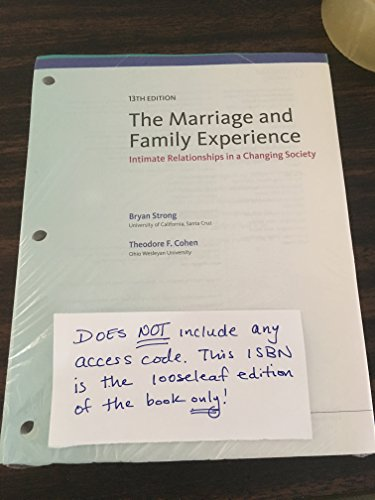 MARRIAGE+FAMILY EXPERIENCE (LOOSELEAF)  N/A 9781305677135 Front Cover