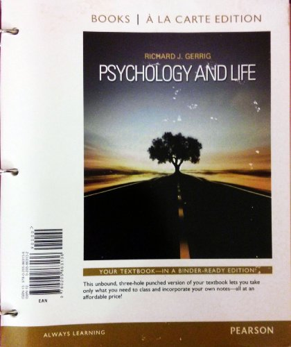 Psychology and Life, Books a la Carte Edition  20th 2013 edition cover
