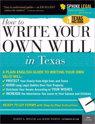 Write Your Own Texas Will  4th 2005 9781572485136 Front Cover