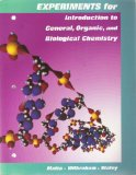 Experiments for Introduction to General, Organic, and Biological Chemistry 10th 1996 (Lab Manual) edition cover