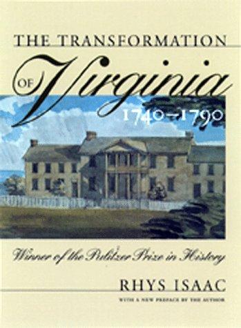 Transformation of Virginia, 1740-1790   1999 edition cover