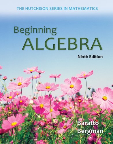 Student Solutions Manual for Beginning Algebra  9th 2014 9780077574147 Front Cover