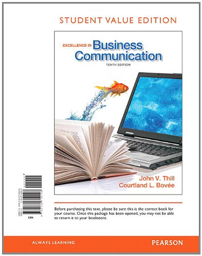Excellence in Business Communication, Student Value Edition  10th 2013 edition cover