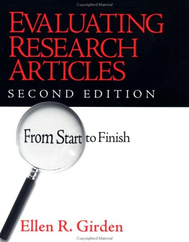 Evaluating Research Articles from Start to Finish  2nd 2001 (Revised) edition cover