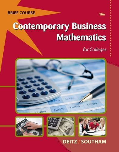 Contemporary Business Mathematics for Colleges, Brief (with Printed Access Card)  16th 2013 edition cover