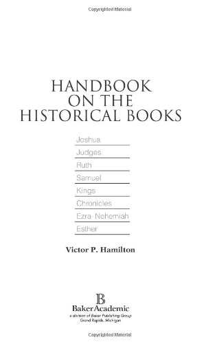 Handbook on the Historical Books Joshua, Judges, Ruth, Samuel, Kings, Chronicles, Ezra-Nehemiah, Esther N/A edition cover