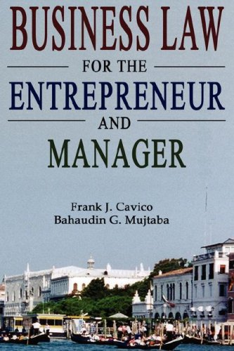 Business Law for the Entrepreneur and Manager  N/A 9780977421152 Front Cover