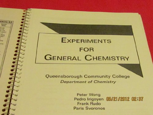 Lab Experiments for General Chemistry  1st (Revised) 9780757503153 Front Cover