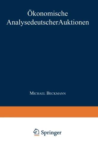 �konomische Analyse Deutscher Auktionen   1999 9783824469154 Front Cover