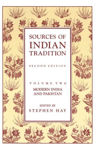 Sources of Indian Tradition Modern India and Pakistan 2nd edition cover
