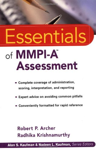 Essentials of MMPI-A Assessment   2002 edition cover